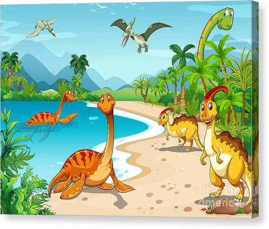 Tropical Plant Canvas Print - Dinosaurs Living On The Beach by Graphicsrf