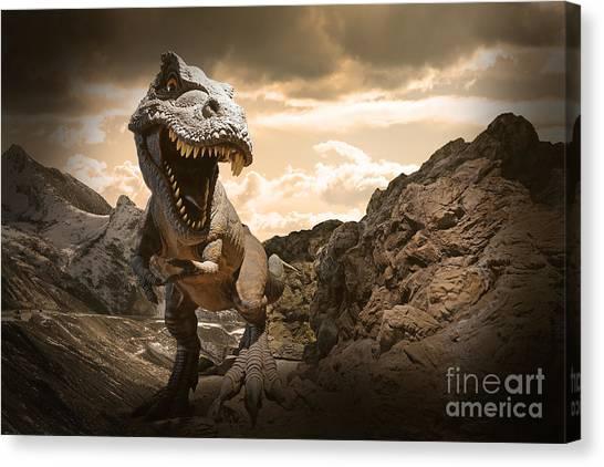 Powerful Canvas Print - Dinosaurs Model On Rock Mountain by Sahachatz