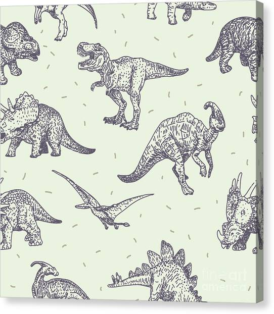Happy Canvas Print - Dinosaurs Vector Drawings Seamless by Iz Stock Works