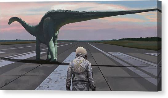 Canvas Print featuring the painting Diplodocus by Scott Listfield