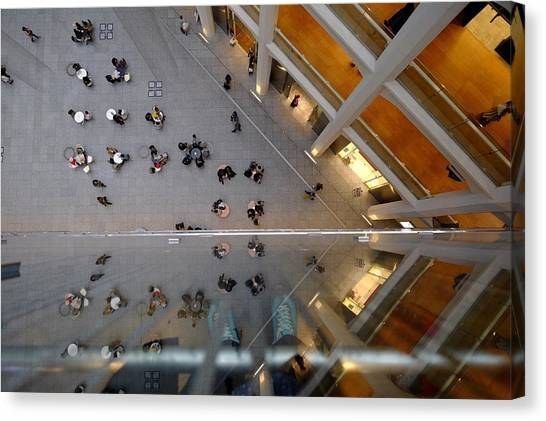 Directly Above Shot Of People Outside Canvas Print by Atsushi Fujikawa / Eyeem
