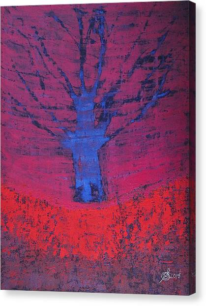 Disappearing Tree Original Painting Canvas Print