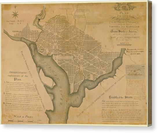 District Of Columbia 1792 Washington Canvas Print