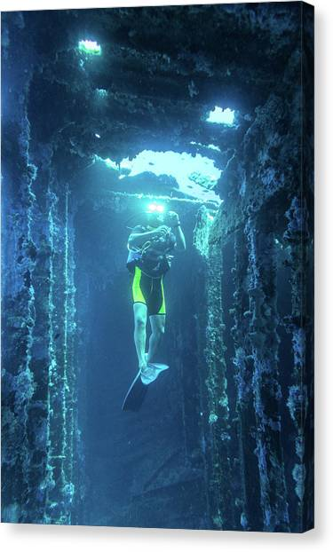 Diver In The  Canvas Print