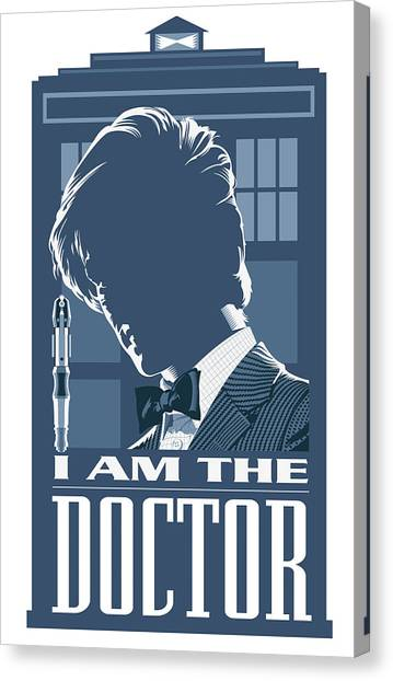 Tardis Canvas Print - Doctor Who And The Tardis by Garth Glazier