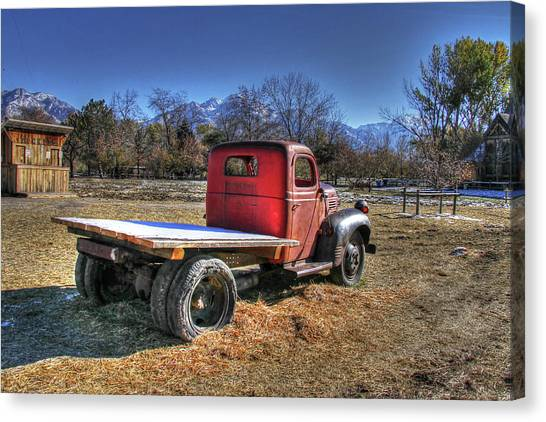 Fashion Plate Canvas Print - Dodge Flat Bed Truck On Farm by Nick Gray