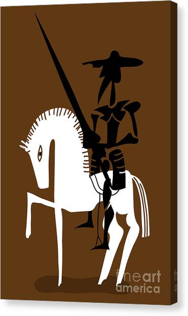 Shadow Canvas Print - Don Quixote Knight And His Horse by Complot