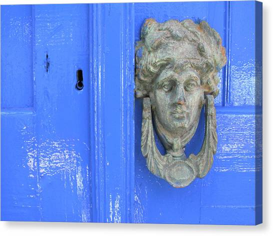 Door Knocker, Loutro, Crete, Greece Canvas Print