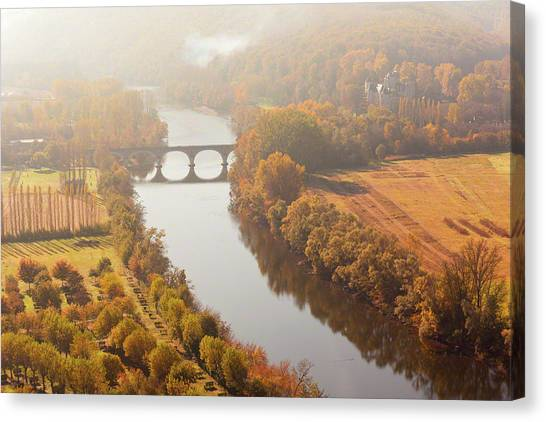Dordogne River In The Mist Canvas Print