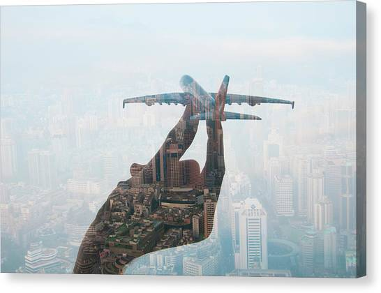 Double Exposure Of Hand Holding Model Canvas Print by Jasper James