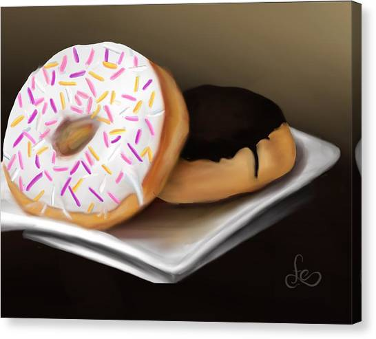 Canvas Print featuring the painting Doughnut Life by Fe Jones