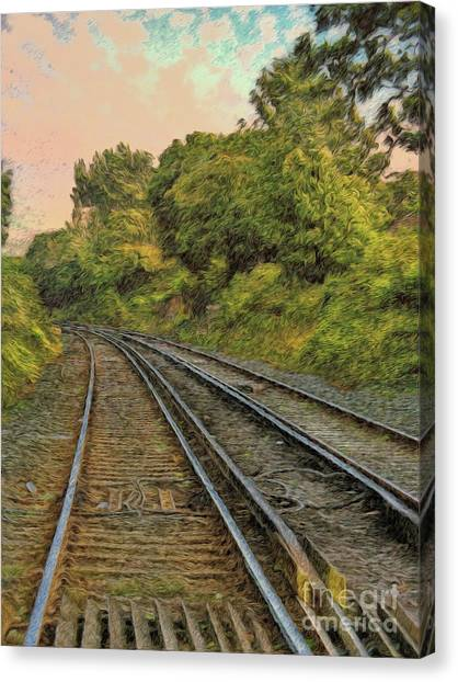 Canvas Print featuring the photograph Down The Track by Leigh Kemp