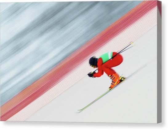 Downhill Ski Racer Speeding Down Canvas Print