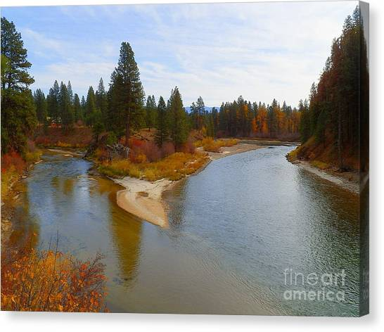Boise National Forest Canvas Print - Downstream With Autumn Payette River by Art Sandi
