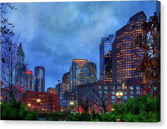 Canvas Print featuring the photograph Downtown Boston Skyline At Night by Joann Vitali