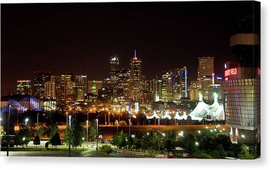 Canvas Print featuring the photograph Downtown Denver At Night by Chance Kafka