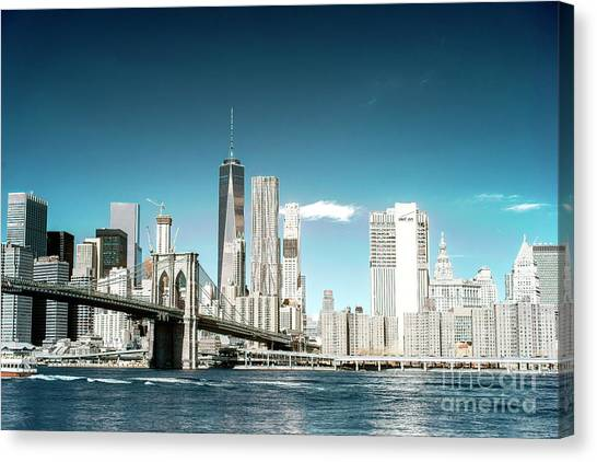 Downtown Manhattan View From Dumbo Canvas Print by John Rizzuto