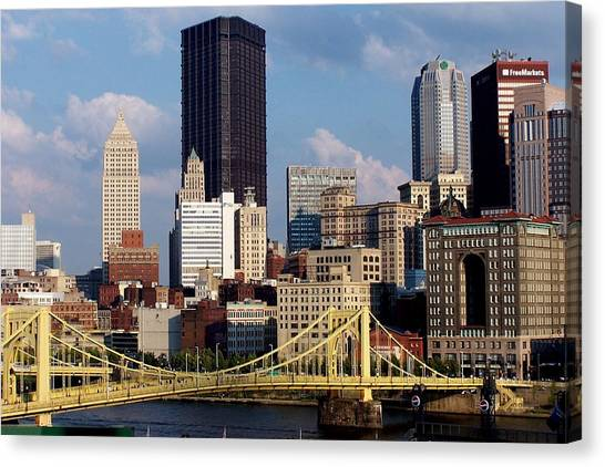 Downtown Pittsburgh Panorama From Pnc Canvas Print