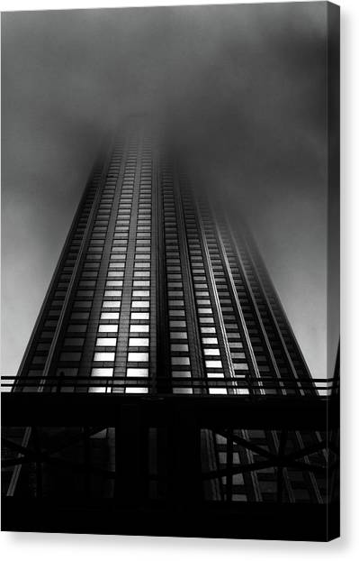 Canvas Print featuring the photograph Downtown Toronto Fogfest No 11 by Brian Carson