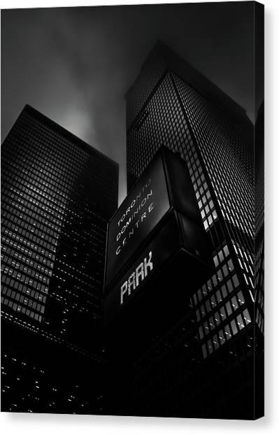Canvas Print featuring the photograph Downtown Toronto Fogfest No 16 by Brian Carson