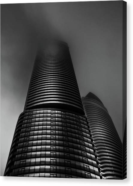 Canvas Print featuring the photograph Downtown Toronto Fogfest No 21 by Brian Carson
