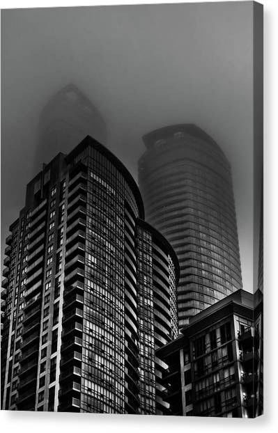 Canvas Print featuring the photograph Downtown Toronto Fogfest No 22 by Brian Carson