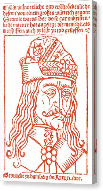 Long Hair Canvas Print - Dracula Or Vlad Tepes, 1491 Woodcut by German School