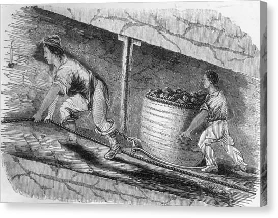 Dragging Coal Canvas Print by Hulton Archive