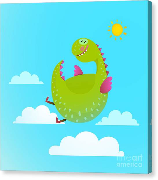 Humorous Canvas Print - Dragon Flying In Sky Colorful Cartoon by Popmarleo