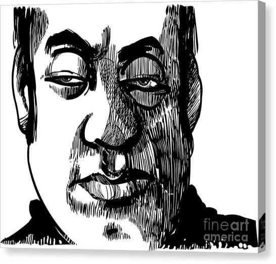 Meditate Canvas Print - Drawing Illustration Of Wise Man Face by Igor Zakowski