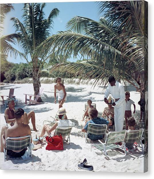 Drinks On The Beach Canvas Print by Slim Aarons
