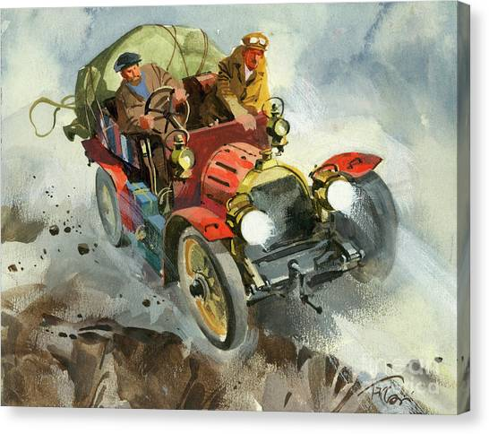 Motoring Canvas Print - Driving During A Ten Thousand Mile Motor Race by Ferdinando Tacconi