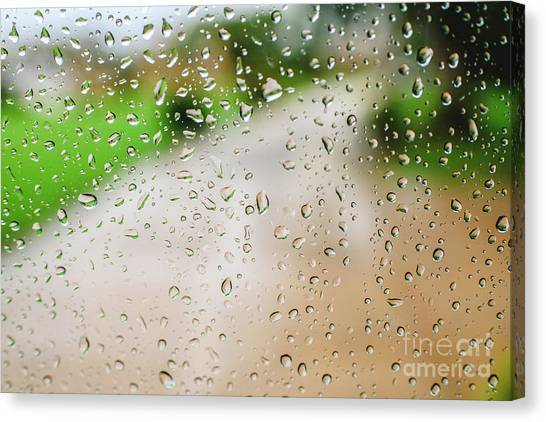 Drops Of Rain On An Autumn Day On A Glass. Canvas Print