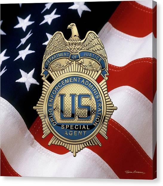 Dea Canvas Print - Drug Enforcement Administration -  D E A Special Agent Badge Over American Flag by Serge Averbukh