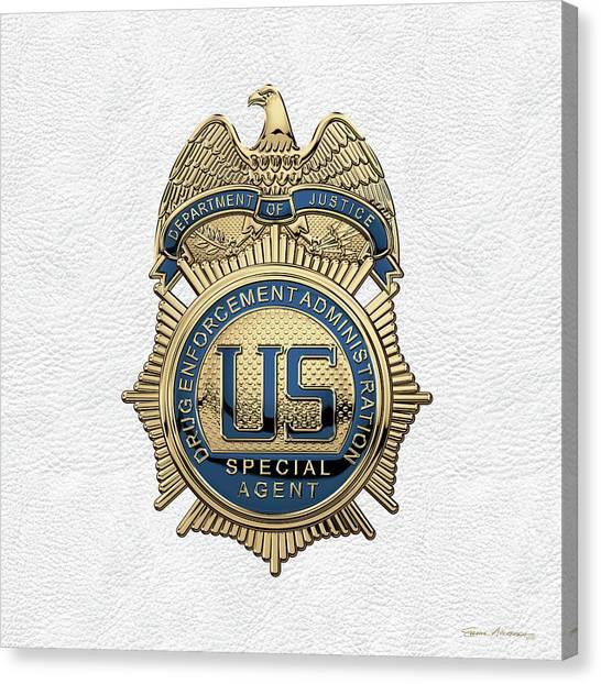 Dea Canvas Print - Drug Enforcement Administration -  D E A  Special Agent Badge Over White Leather by Serge Averbukh