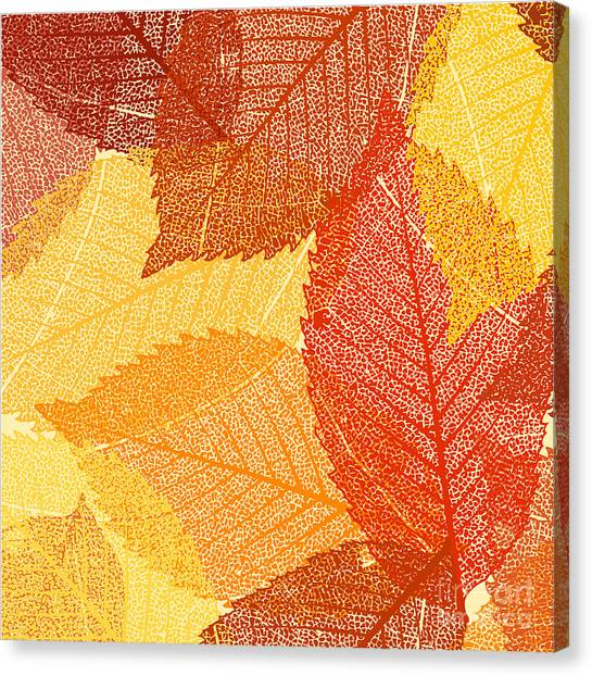 Botany Canvas Print - Dry Autumn Leaves Template. Eps 8 by Eliks