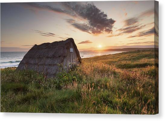 Canvas Print featuring the photograph Drying Hut - Freshwater West by Elliott Coleman