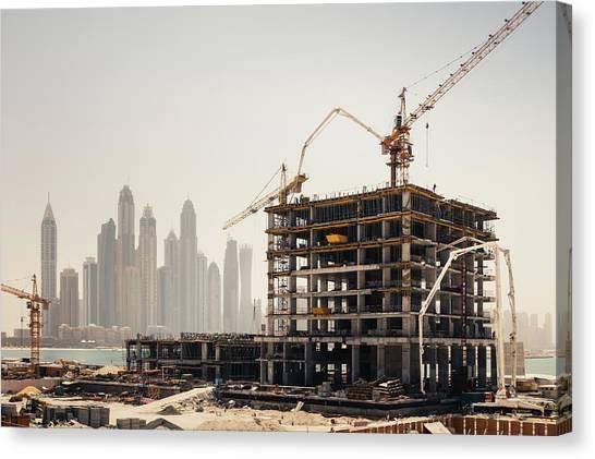 Dubai Construction Canvas Print by Borchee