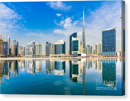 Fountain Canvas Print - Dubai Skyline, Uae by Luciano Mortula - Lgm
