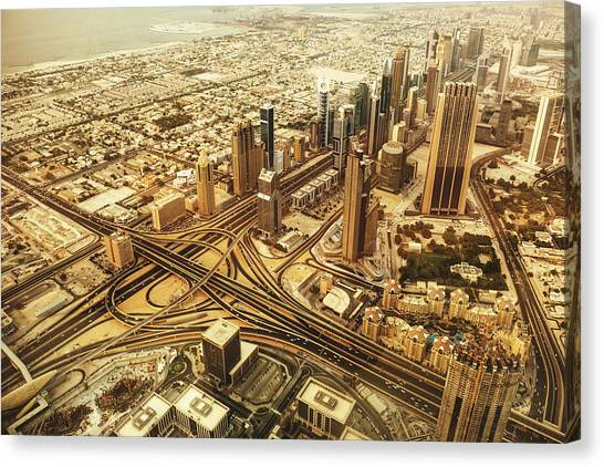 Dubai Skyline With Downtown Aerial View Canvas Print by Franckreporter