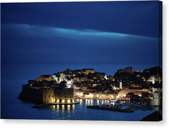 Dubrovnik Old Town At Night Canvas Print