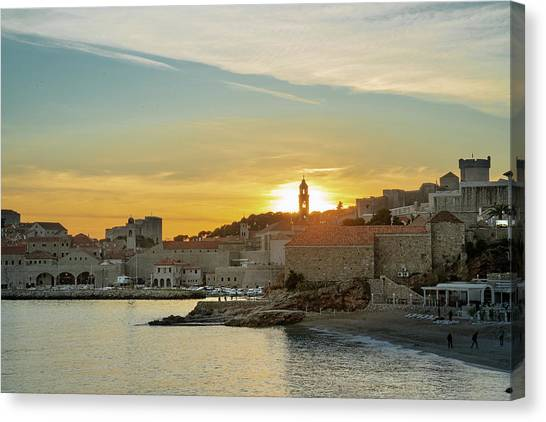 Dubrovnik Old Town At Sunset Canvas Print