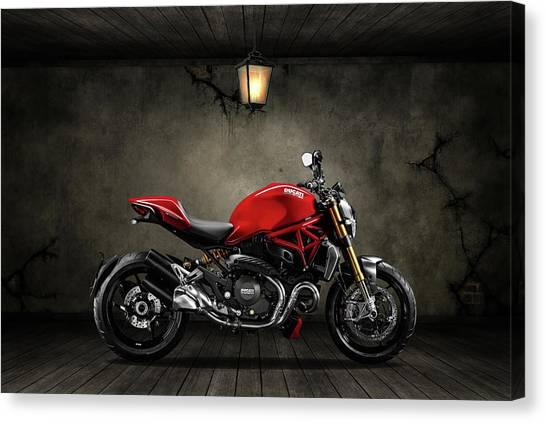 Ducati Canvas Print - Ducati Monster 696 Old Room by Smart Aviation