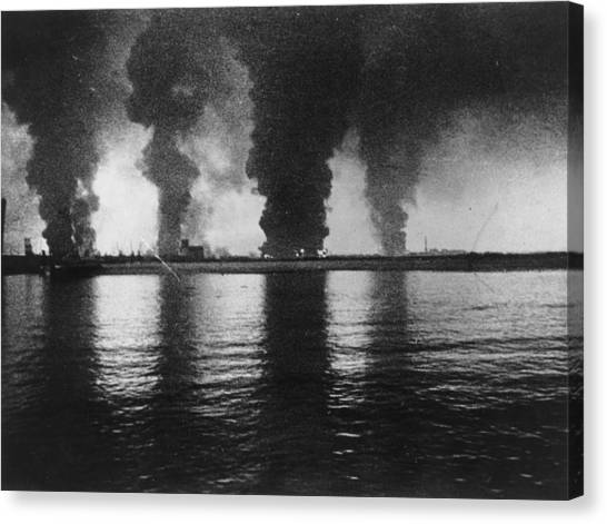 Dunkirk Fires Canvas Print by Central Press