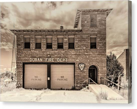 Canvas Print featuring the photograph Duran Fire Dept by Lou Novick