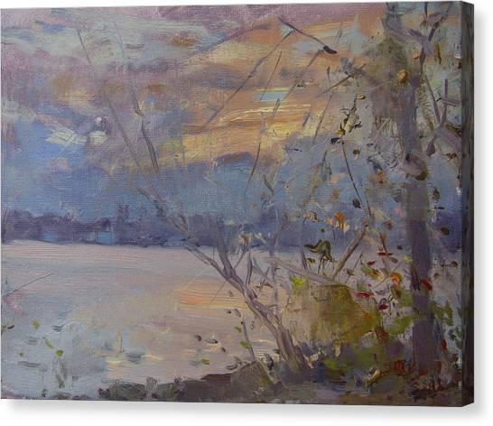 Lake Sunsets Canvas Print - Dusk At Fishermens Park by Ylli Haruni