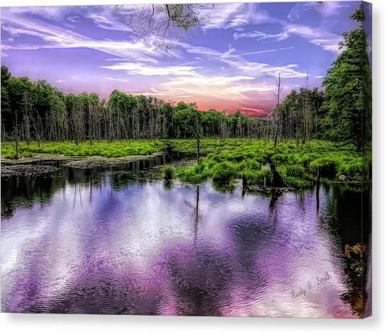 Dusk Falls Over New England Beaver Pond. Canvas Print