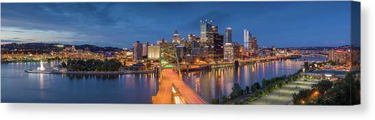 Roberto Clemente Canvas Print - Dusk Over Pittsburgh  by Emmanuel Panagiotakis