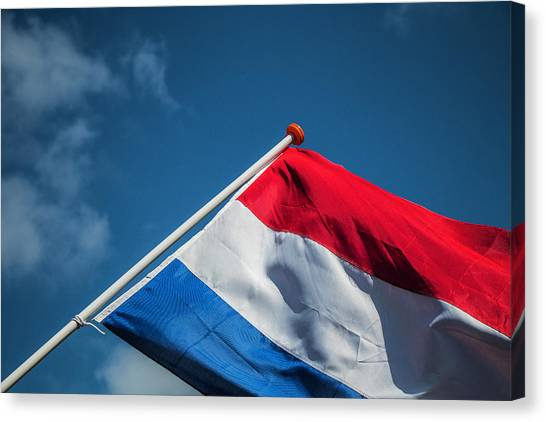 Canvas Print featuring the photograph Dutch Flag by Anjo Ten Kate