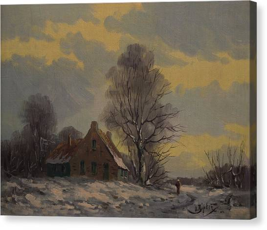 Dutch Snow Landscape Canvas Print